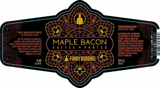Label art for the Maple Bacon Coffee Porter by Funky Buddha Brewery