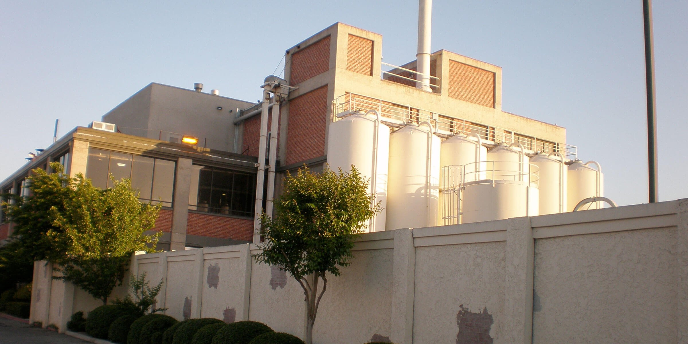 Outside the production facility at Gordon Biersch Brewing Company in San Jose, California