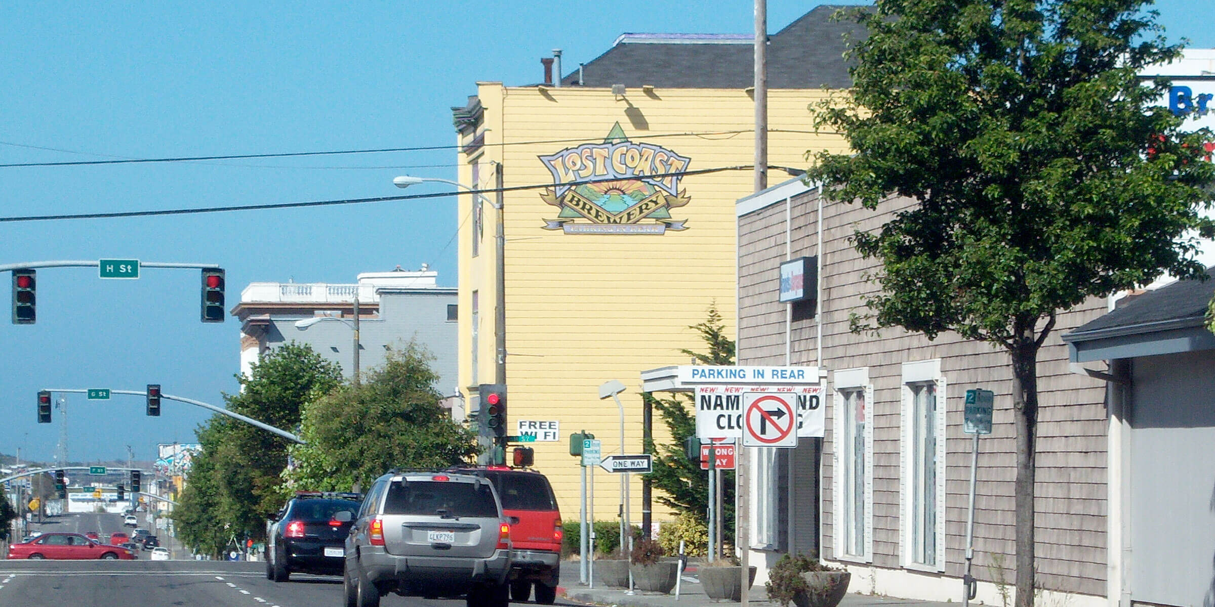 Outside the Lost Coast Brewery & Cafe in Eureka, California