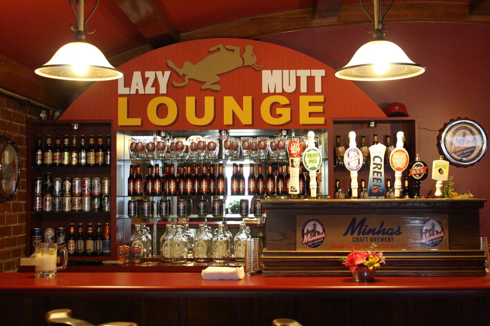 Inside the Lazy Mutt Lounge at Minhas Craft Brewery in Monroe, Wisconsin