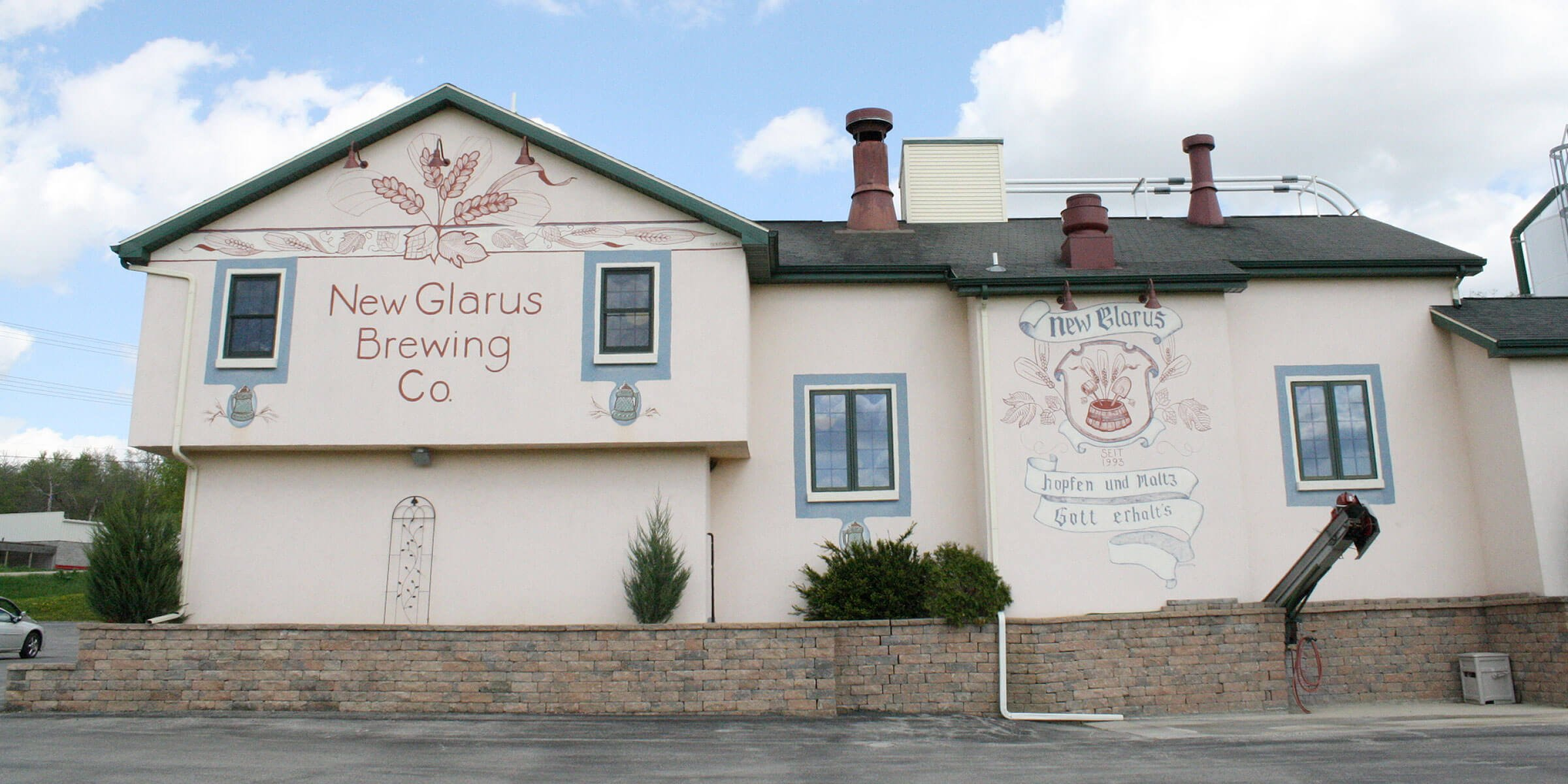 Outside New Glarus Brewing Company in New Glarus, Wisconsin