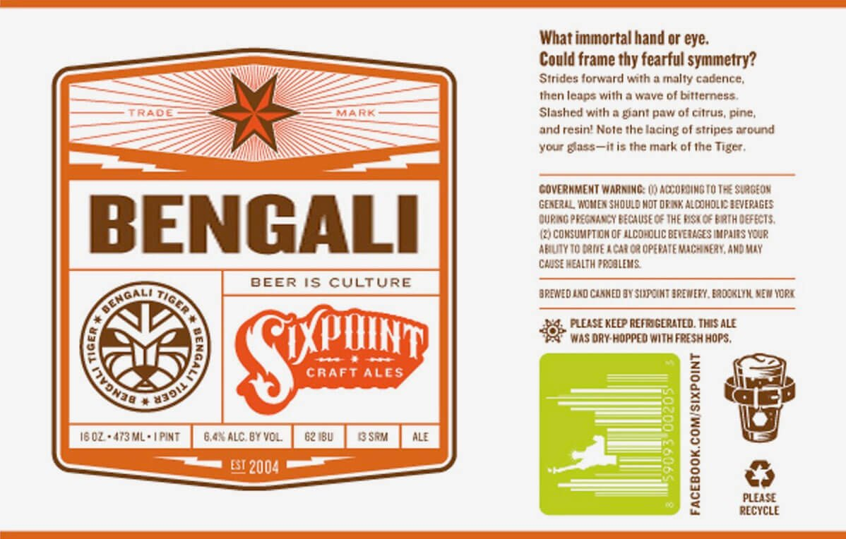 Label art for the Bengali by Sixpoint Brewery