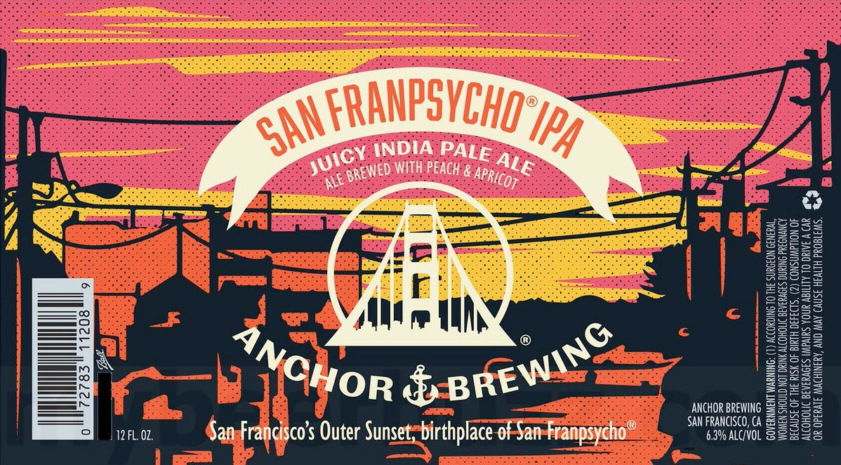 Label design for 12 oz. cans of the San Franpsycho IPA by Anchor Brewing