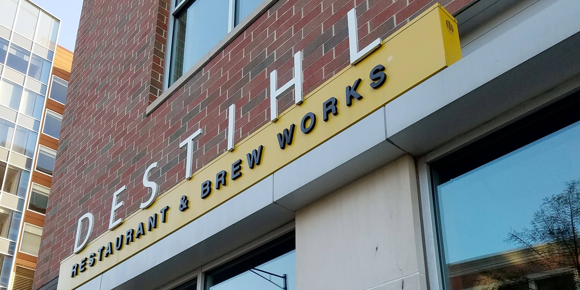 Signage above the entrance to the DESTIHL Brewery in Champaign, Illinois