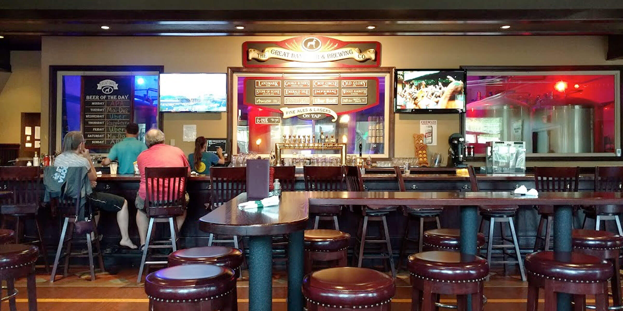 Inside the taproom at Great Dane Pub & Brewing Company in Wausau, Wisconsin