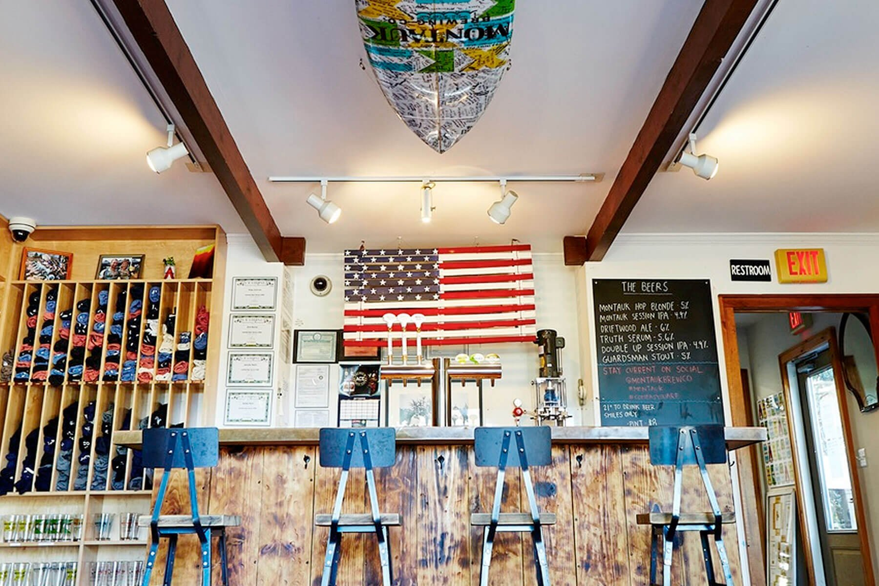 Inside the taproom at Montauk Brewing Company in Montauk, New York
