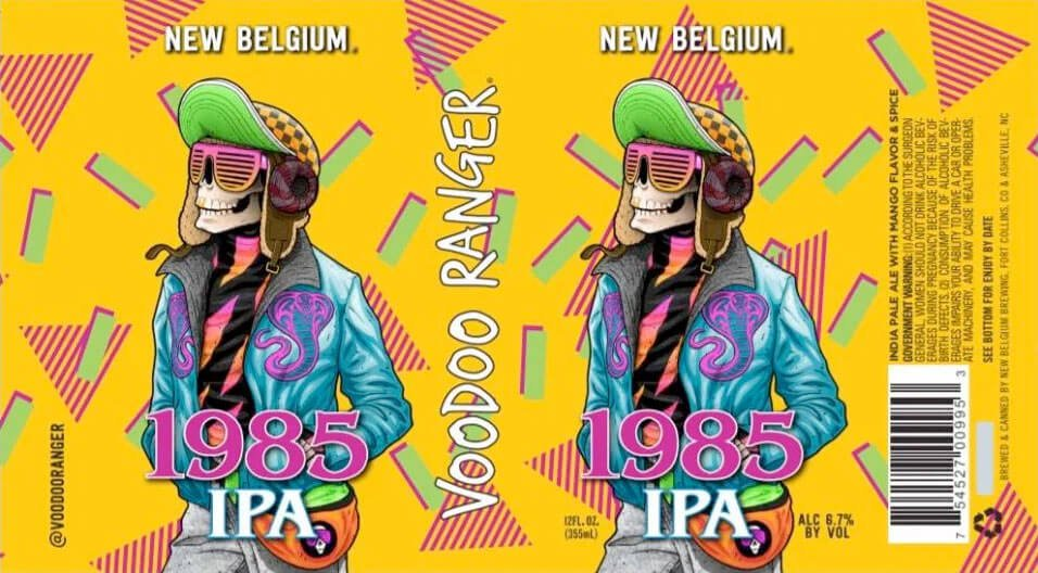 Label design for 12 oz. cans of the Voodoo Ranger 1985 IPA by New Belgium Brewing Company