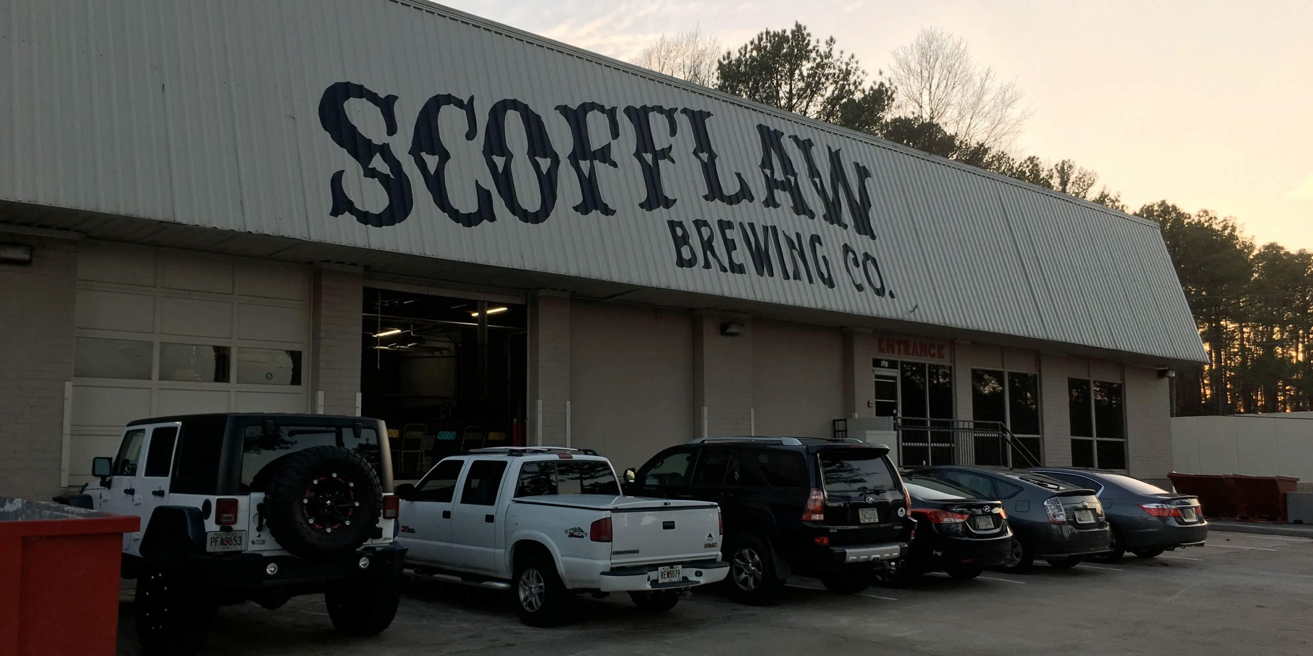 Outside the entrance to Scofflaw Brewing Co. in Atlanta, Georgia