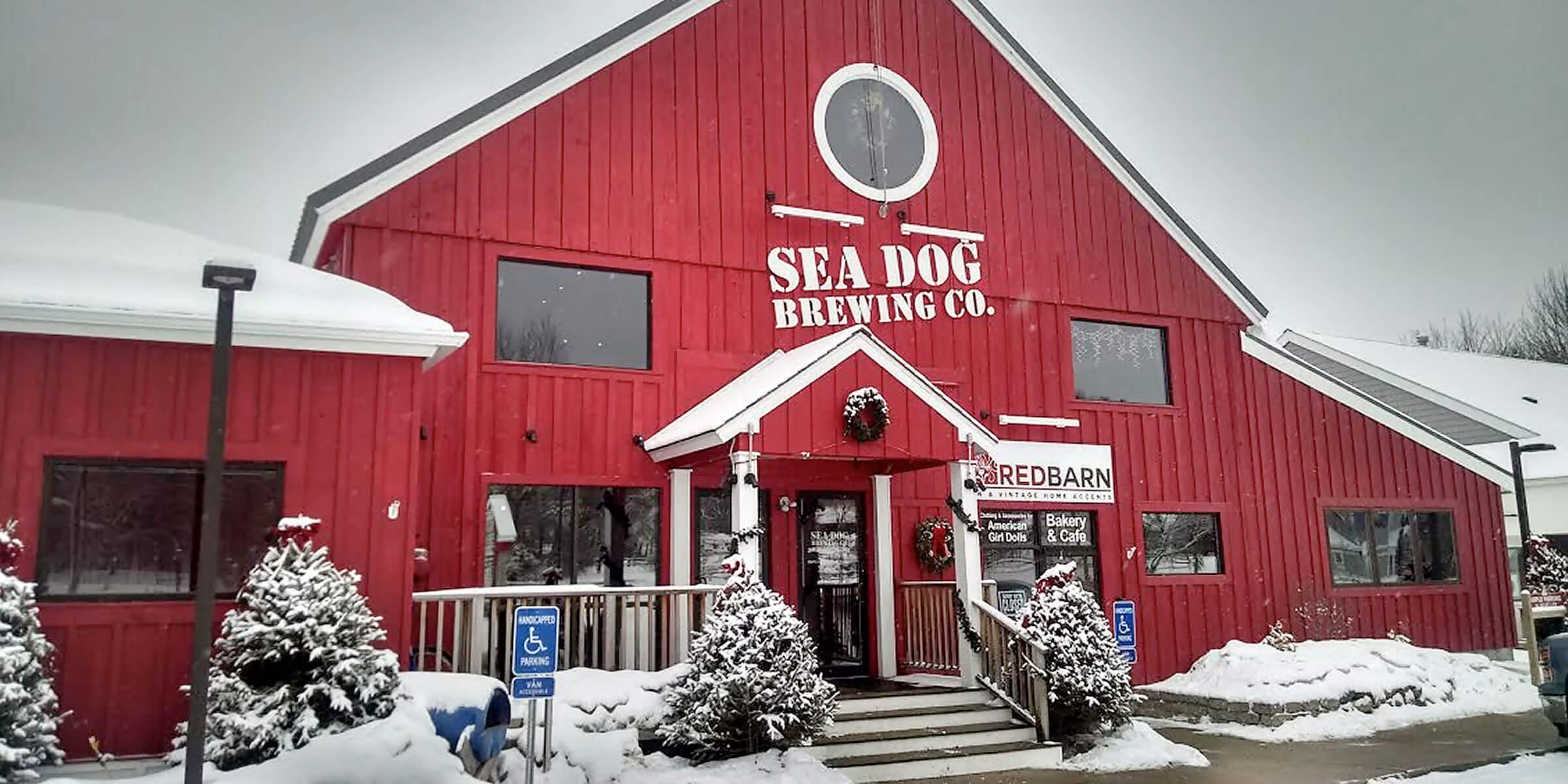 Outside the brewpub at Sea Dog Brewing Co. in North Conway, New Hampshire