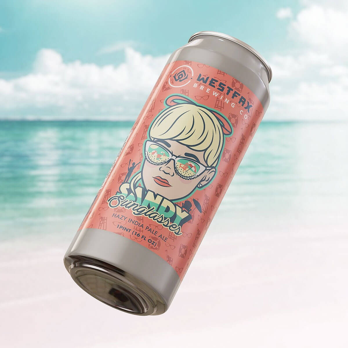 16 oz. can of the Sandy Sunglasses Hazy IPA by WestFax Brewing Company