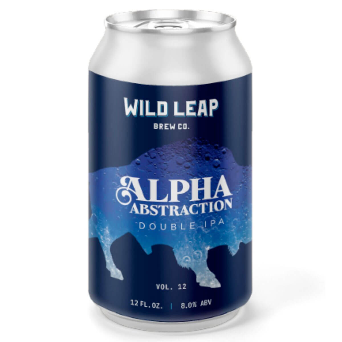 12 oz. can of the Alpha Abstraction Vol. 12 Double IPA by Wild Leap Brew Co.