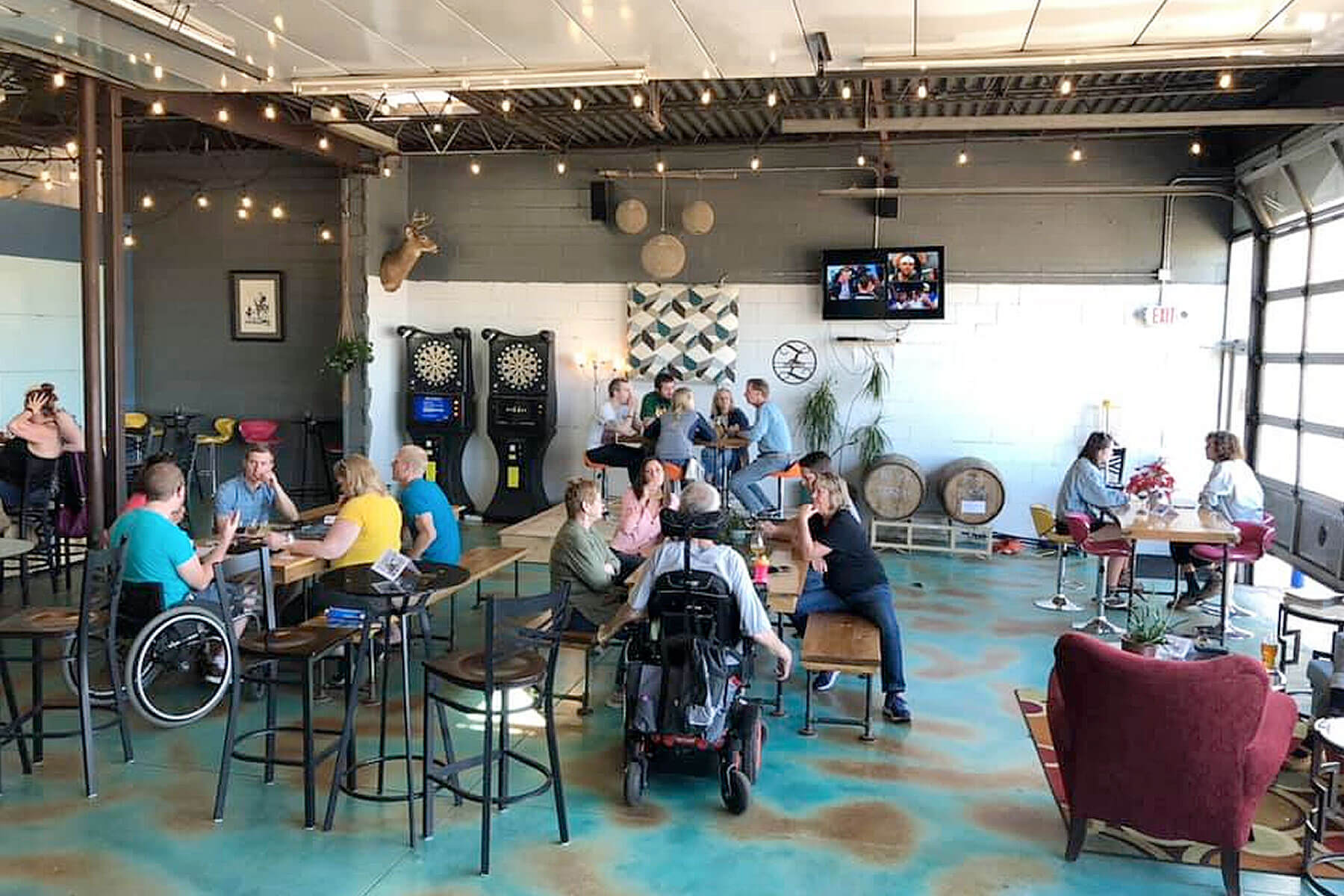 Inside the taproom at Zymurgy Brewing Company in Menomonie, Wisconsin