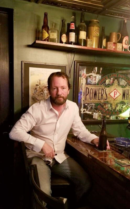 Jim Phelan in his very own Irish Pub in the basement of his home in Baltimore, Maryland