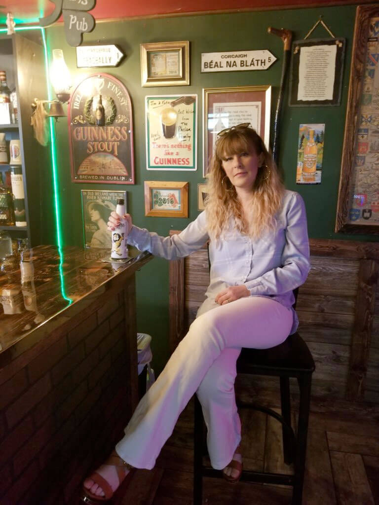 Katie Phelan in the Irish Pub in the basement of her home in Baltimore, Maryland
