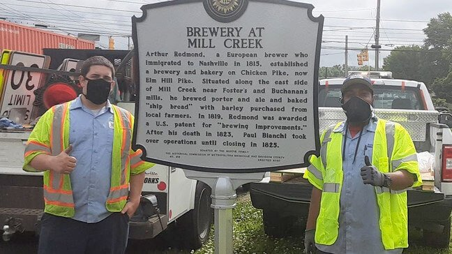 A new historical marker recognizing the Brewery at Mill Creek was recently installed by Metro Nashville Public Works at Elm Hill Pike and Massman Drive.
