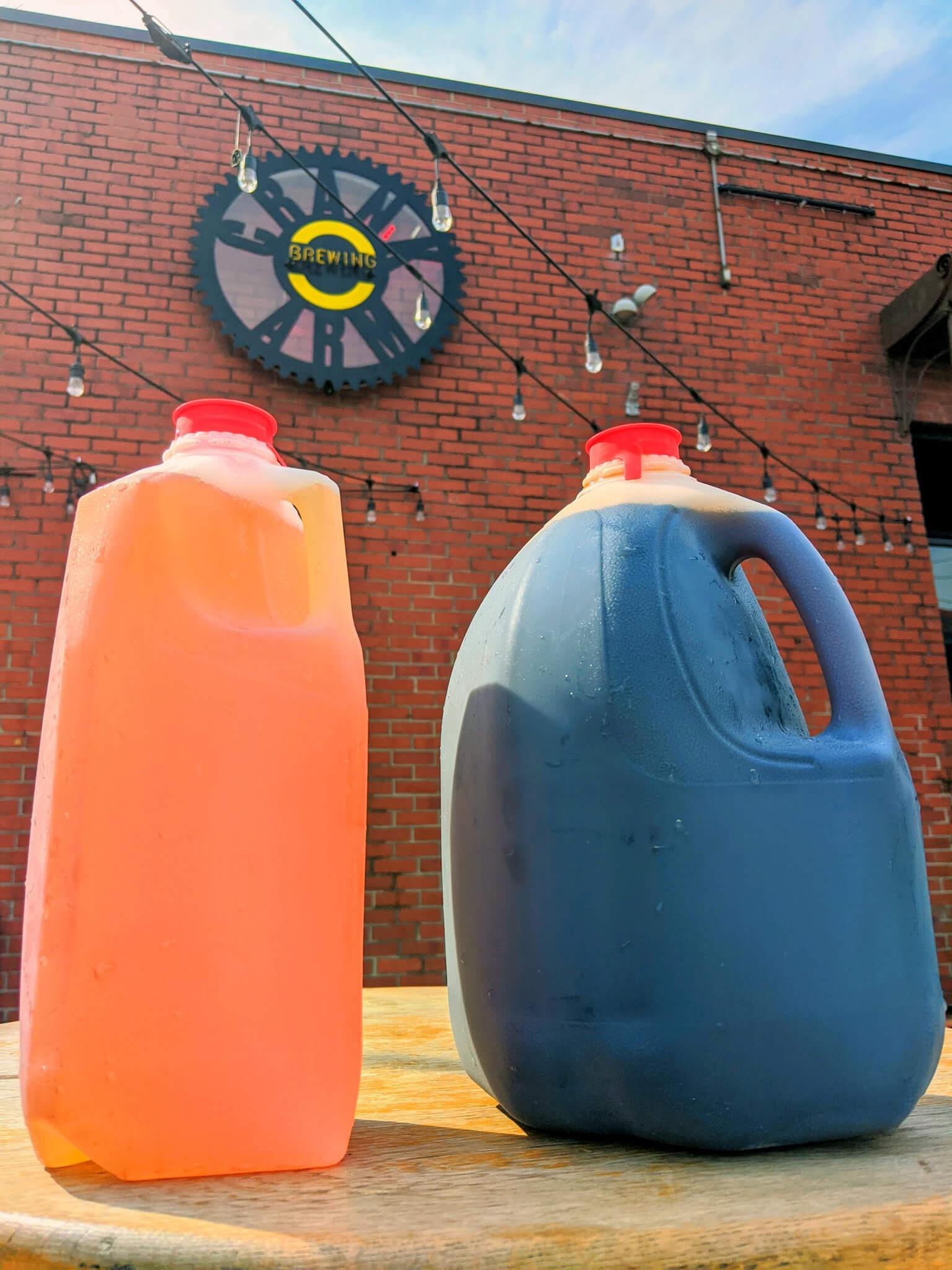 Crank Arm Brewing, in Raleigh, North Carolina, sells its draft beer in plastic milk jugs.