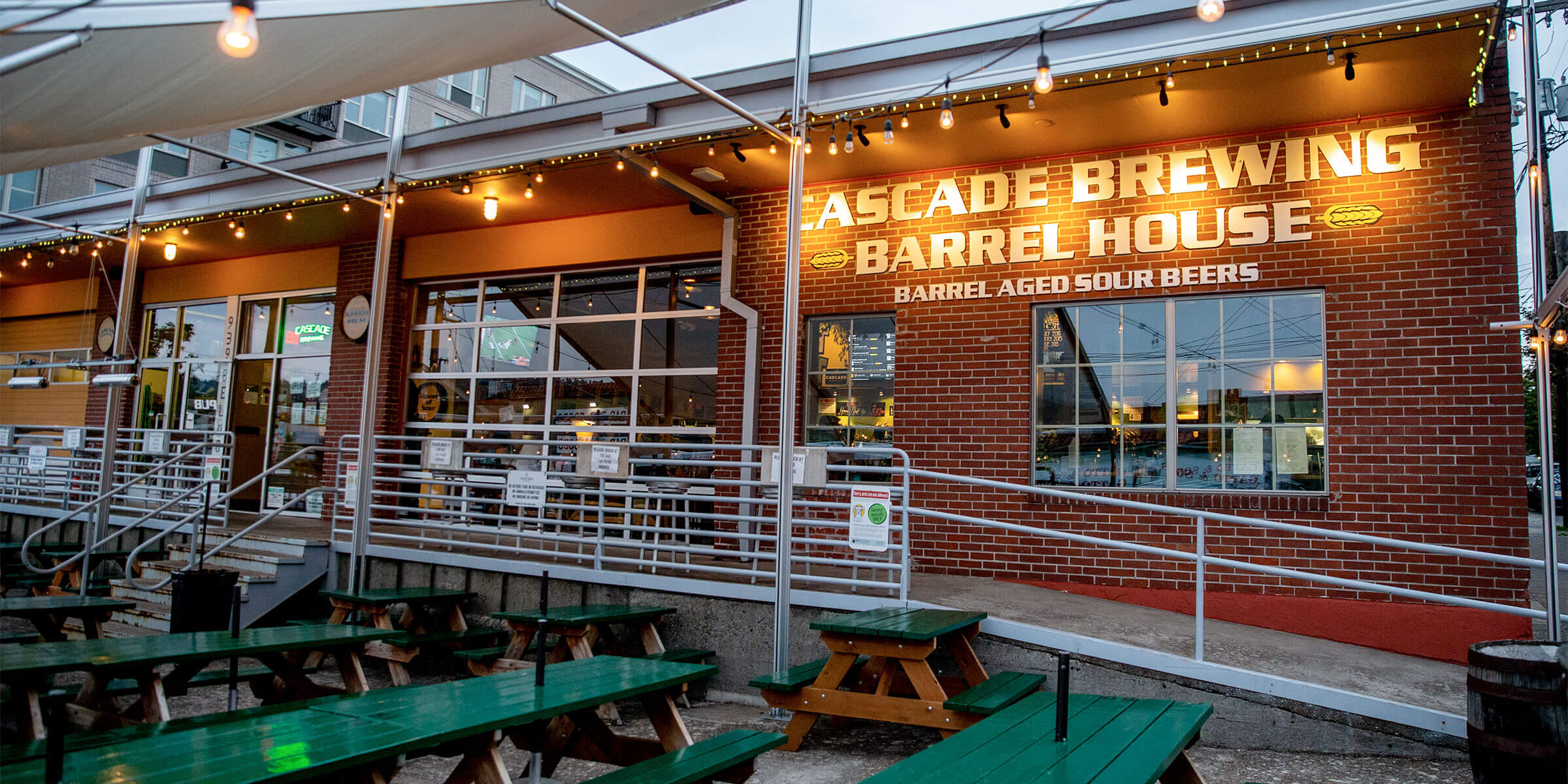Outside on the patio at Cascade Brewing Barrel House in Portland, Oregon