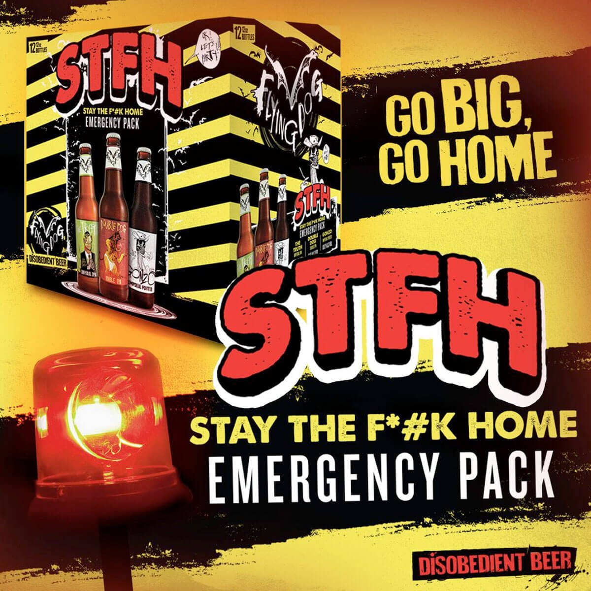 The STFH Emergency Pack features three of Flying Dog's strongest brews: Double Dog Double IPA, Gonzo Imperial Porter, and The Truth Imperial IPA