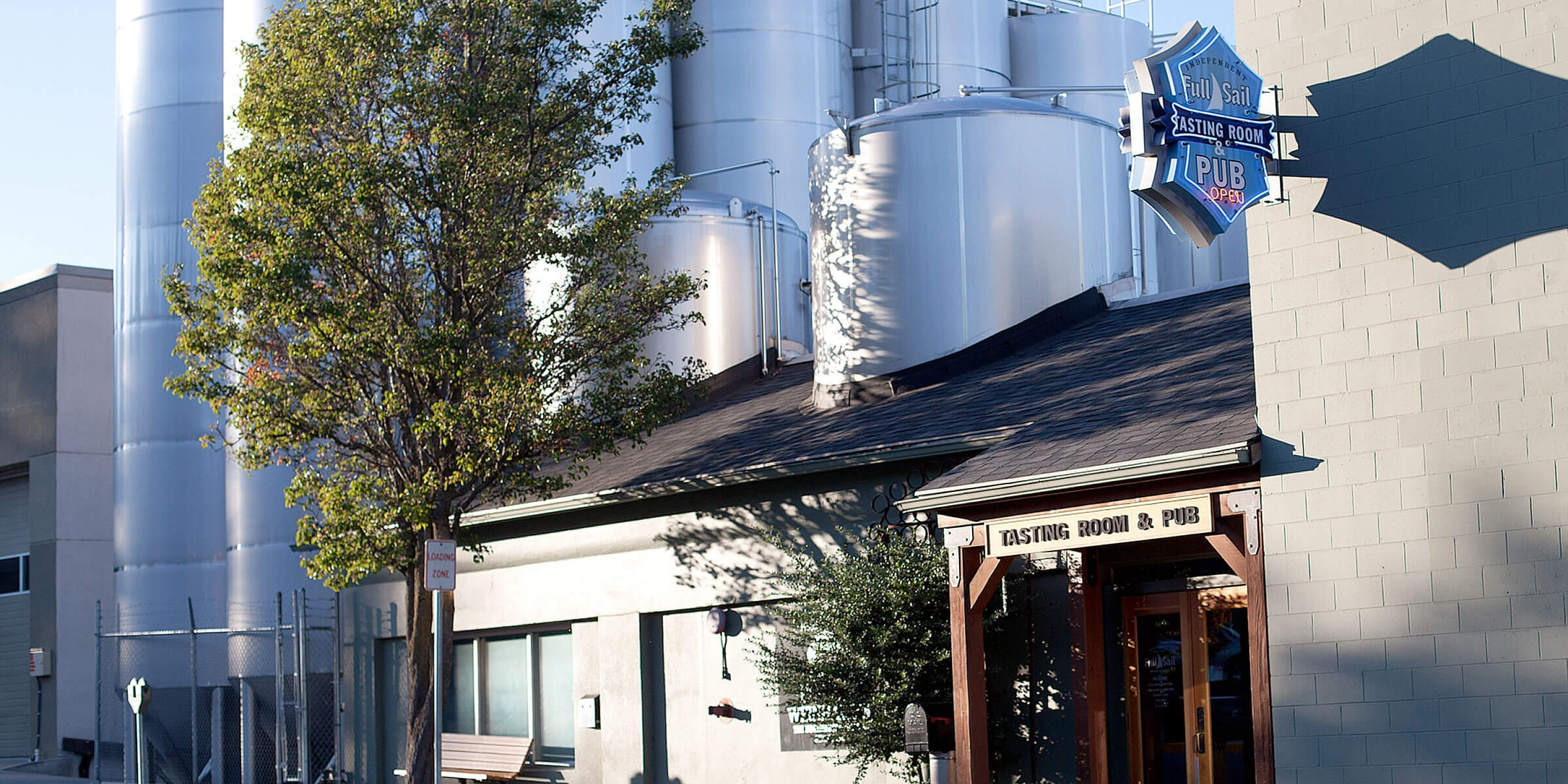 Outside the entrance to the Full Sail Brewing Co. brewpub in Hood River, Oregon
