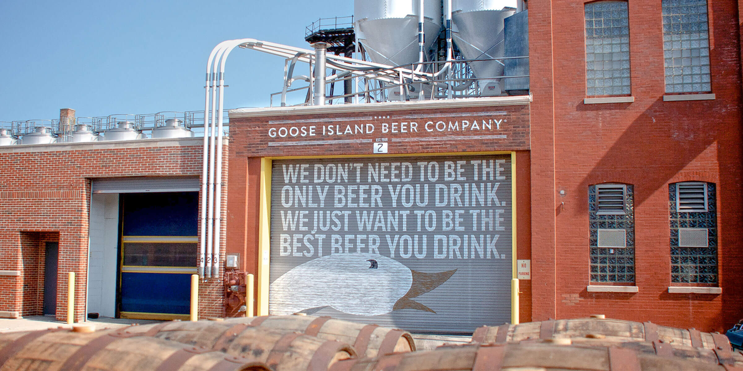 Outside the Goose Island Beer Co. Fulton Street location in Chicago, Illinois