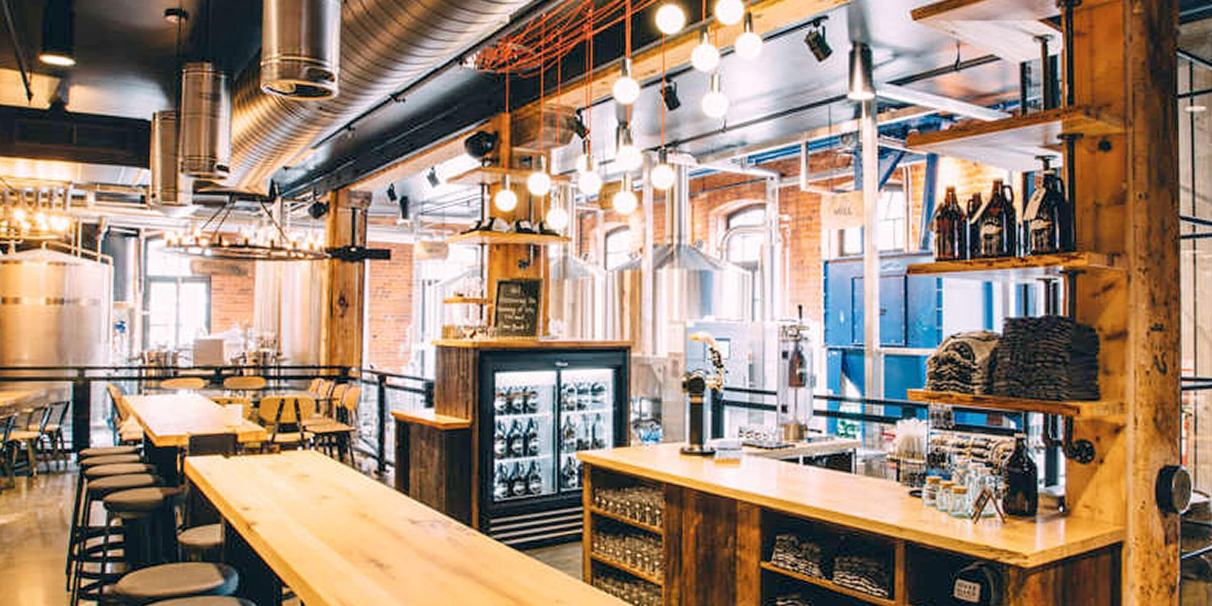 Inside the taproom at the Toronto, Canada location of Goose Island Beer Co.