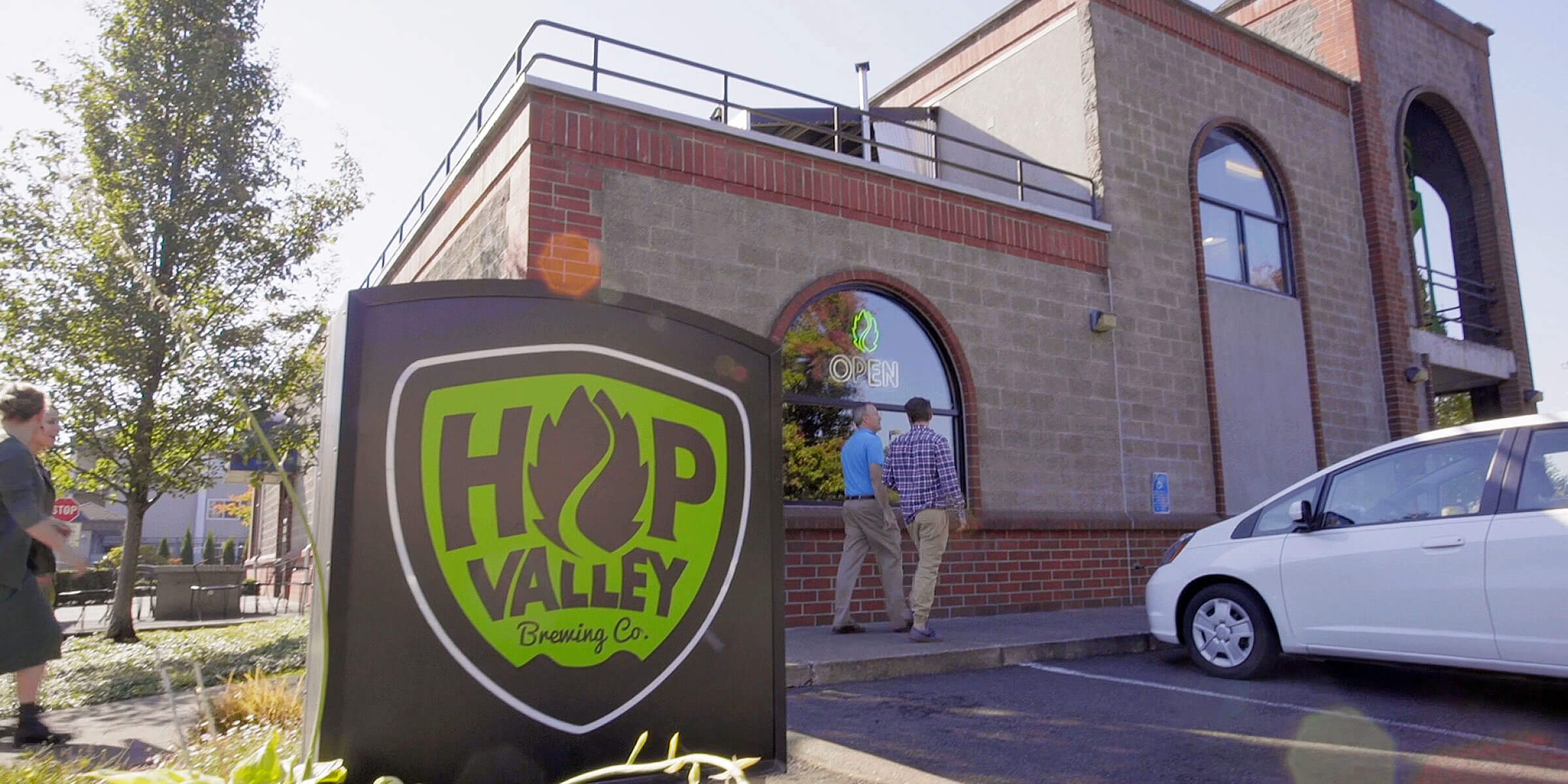 Outside the entrance to the Hop Valley Brewing Company in Springfield, Oregon