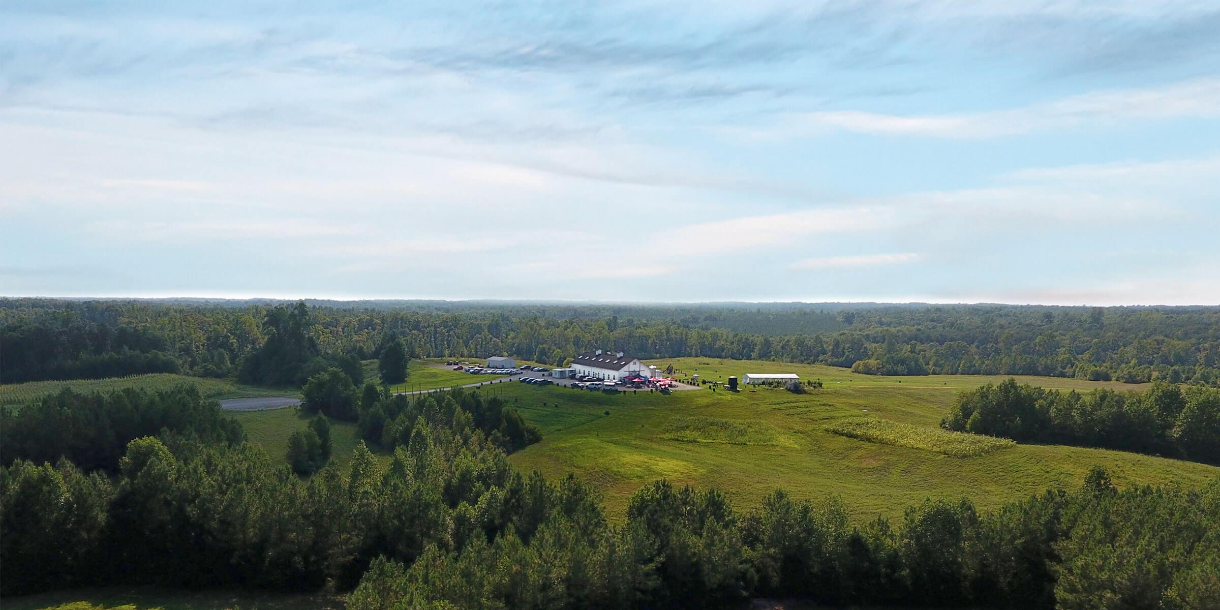 The farmland surrounding Lickinghole Creek Craft Brewery in Goochland, Virginia