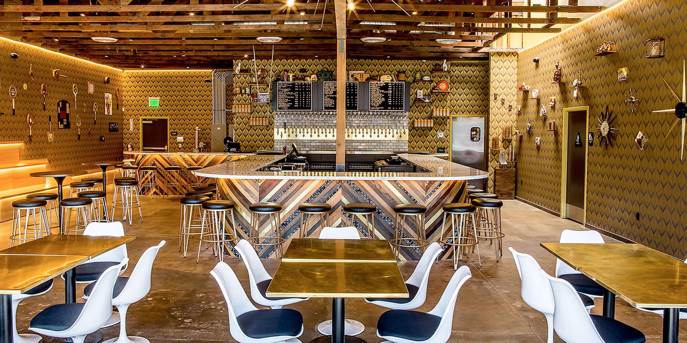 Inside The Far West Lounge of Modern Times Beer in Encinitas, California