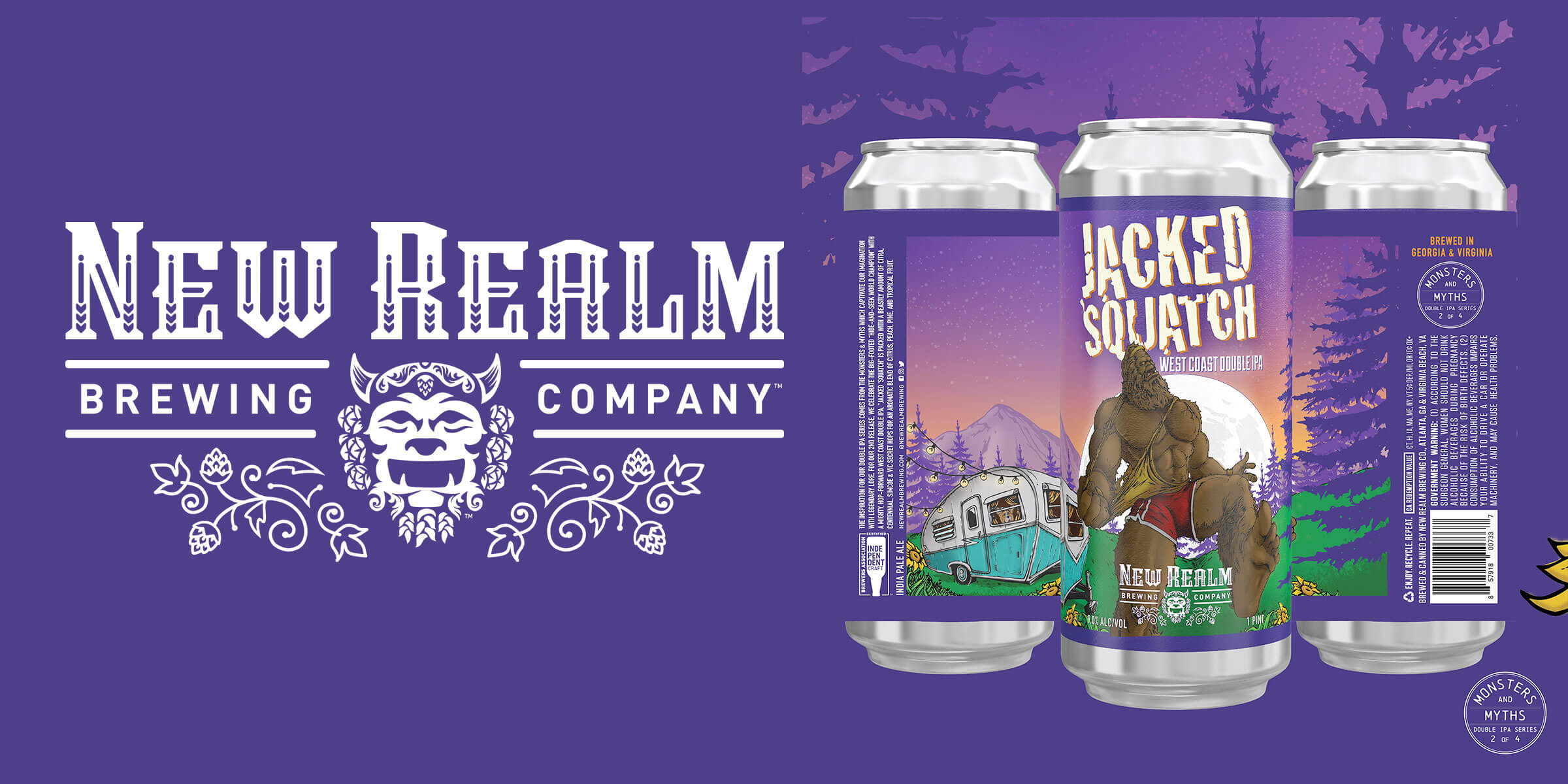 New Realm Brewing Company introduces their second release in the Monsters & Myths Double IPA Series, Jacked 'Squatch, available this June.