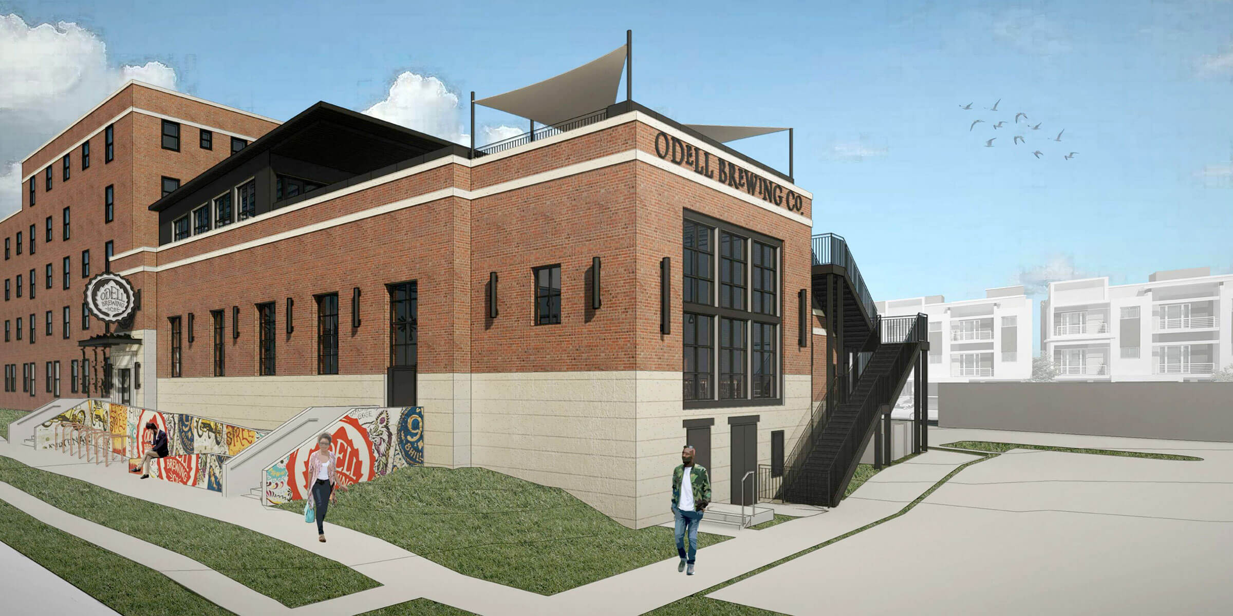 Architectural rendering of the Sloan's Lake Brewhouse and Pizzeria, the newest location of Odell Brewing Co.