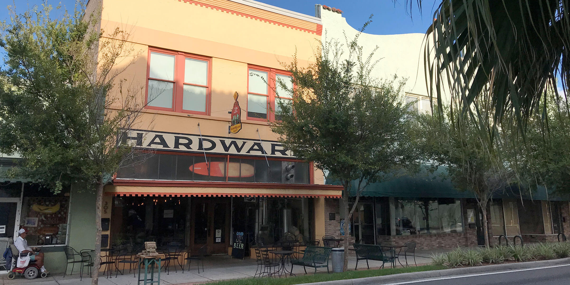 Outside the Playalinda Brewing Company Hardware Store in Titusville, Florida
