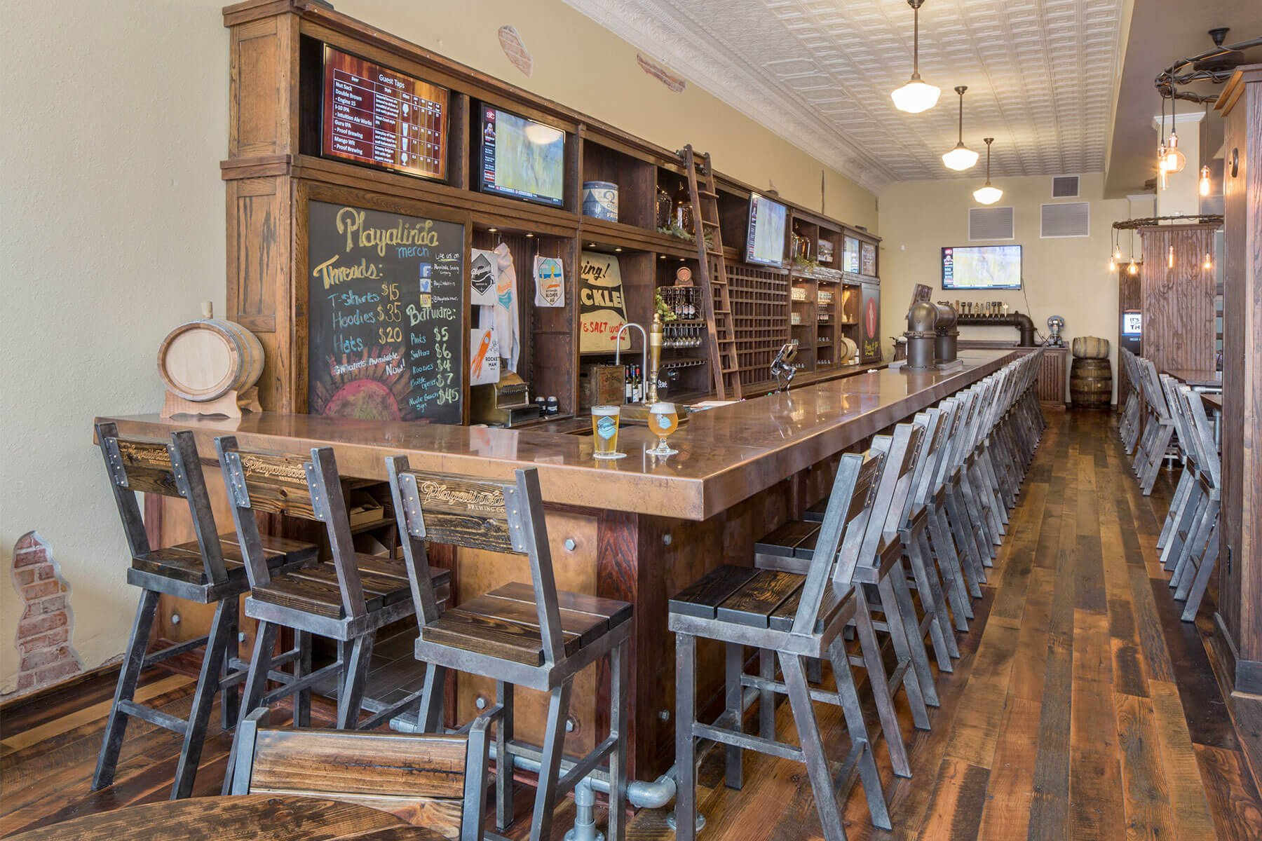 Inside the brewpub at the Playalinda Brewing Company Hardware Store in Titusville, Florida