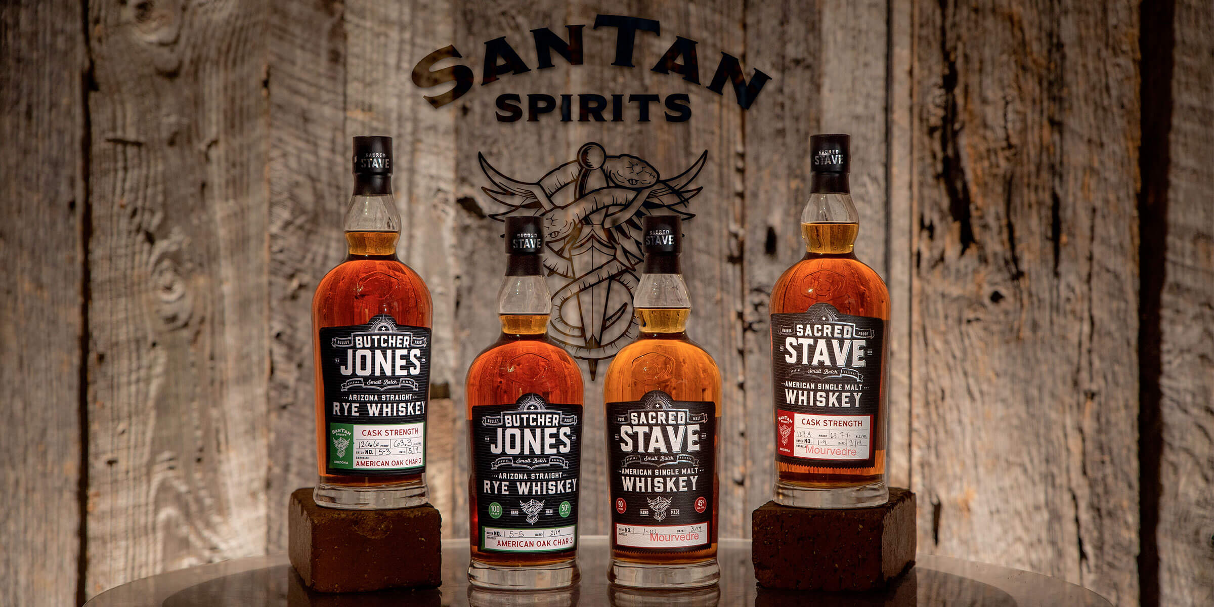 A quartet of 750 ml bottles of whiskey by SanTan Spirits, a product of SanTan Brewing Company