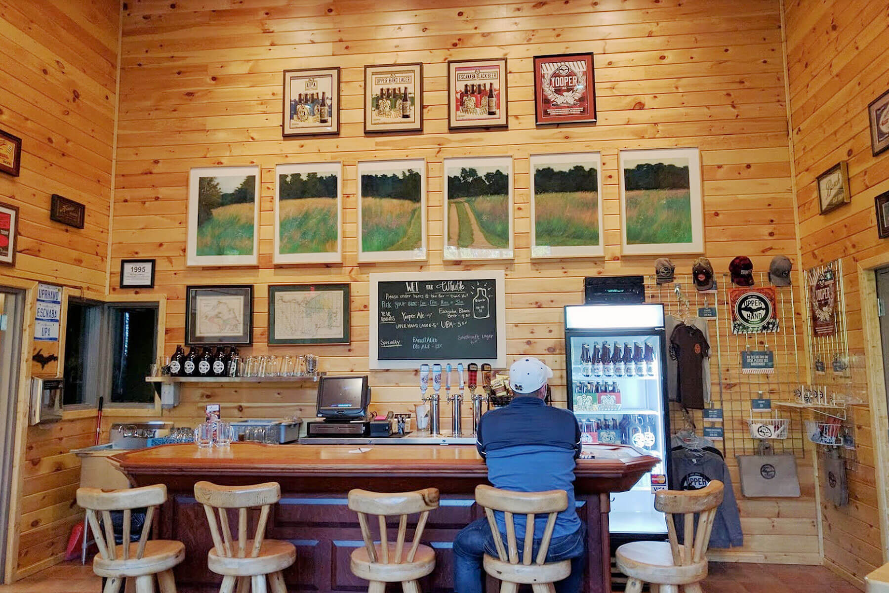Inside the taproom at Upper Hand Brewery in Escanaba, Michigan