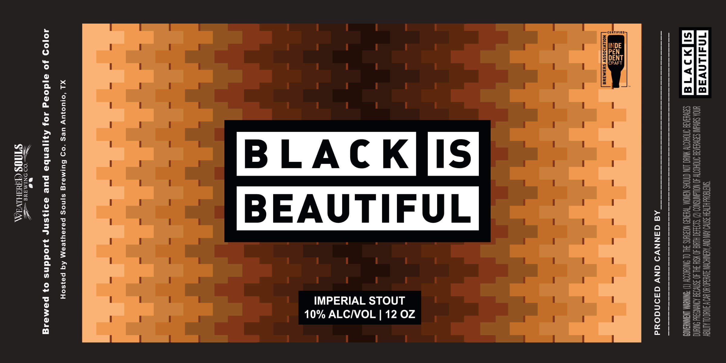 Label deisgn for cans of the Black is Beautiful global beer collaboration.