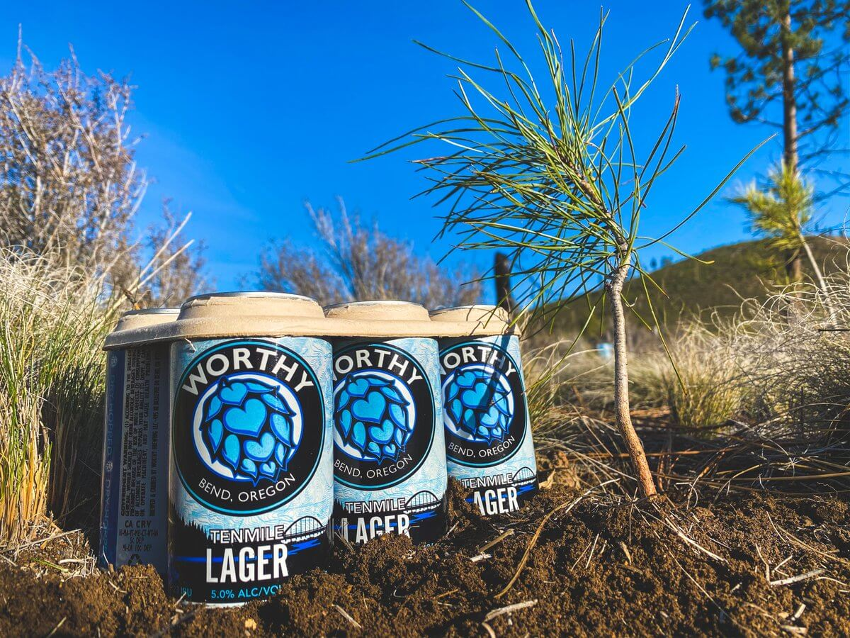 The cans of the Tenmile lager by Worthy Brewing Company feature a new design process that uses a water-based ink for digital printing, which uses 90 percent less ink and avoids paper or plastic shrink wrapping