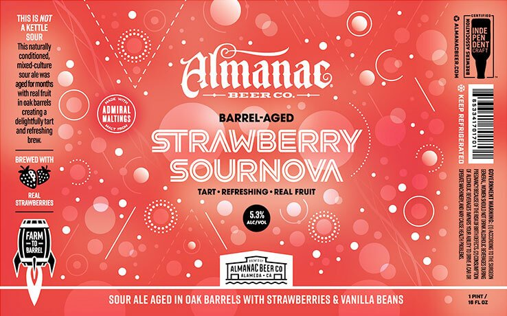 Label design for 16 oz. cans of the Strawberry Sournova by Almanac Beer Co.