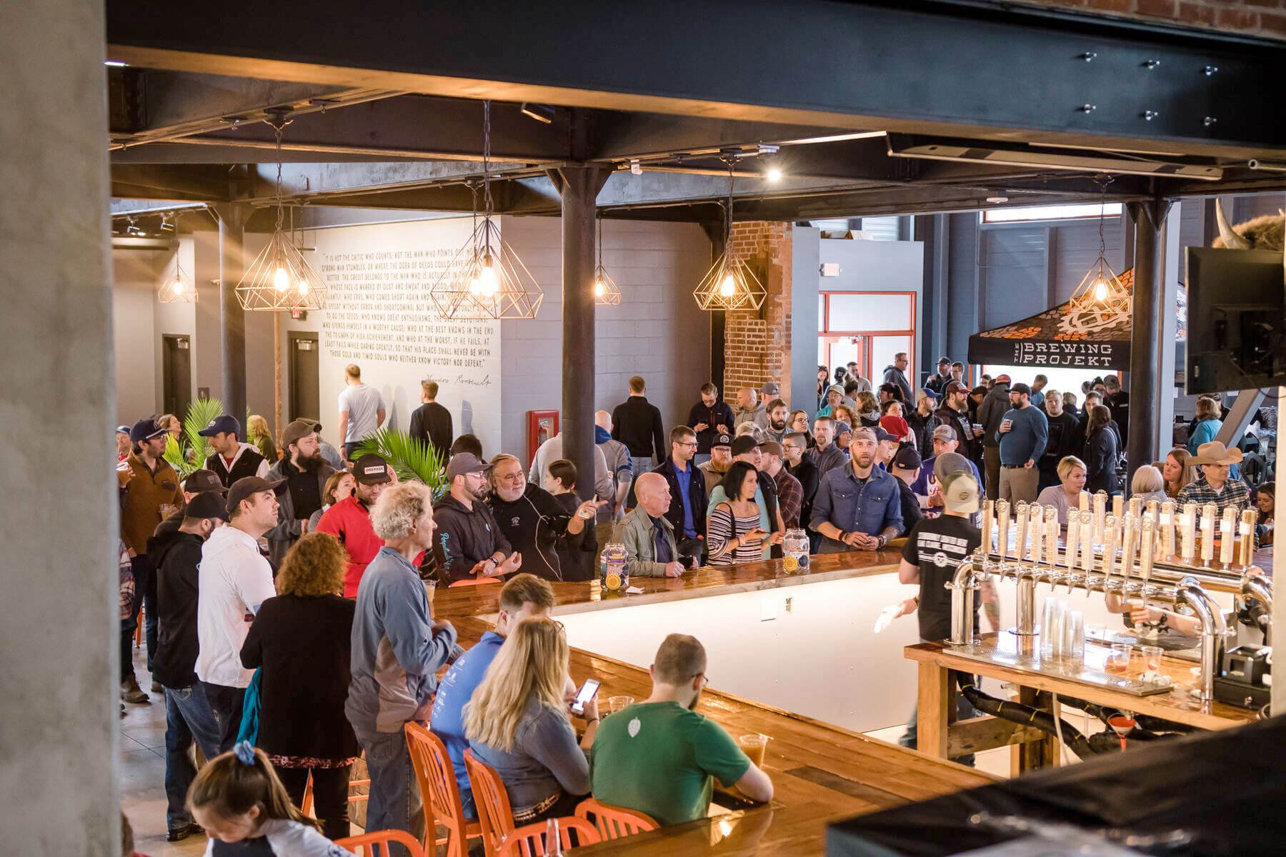 Inside the taproom at The Brewing Projekt in Eau Claire, Wisconsin