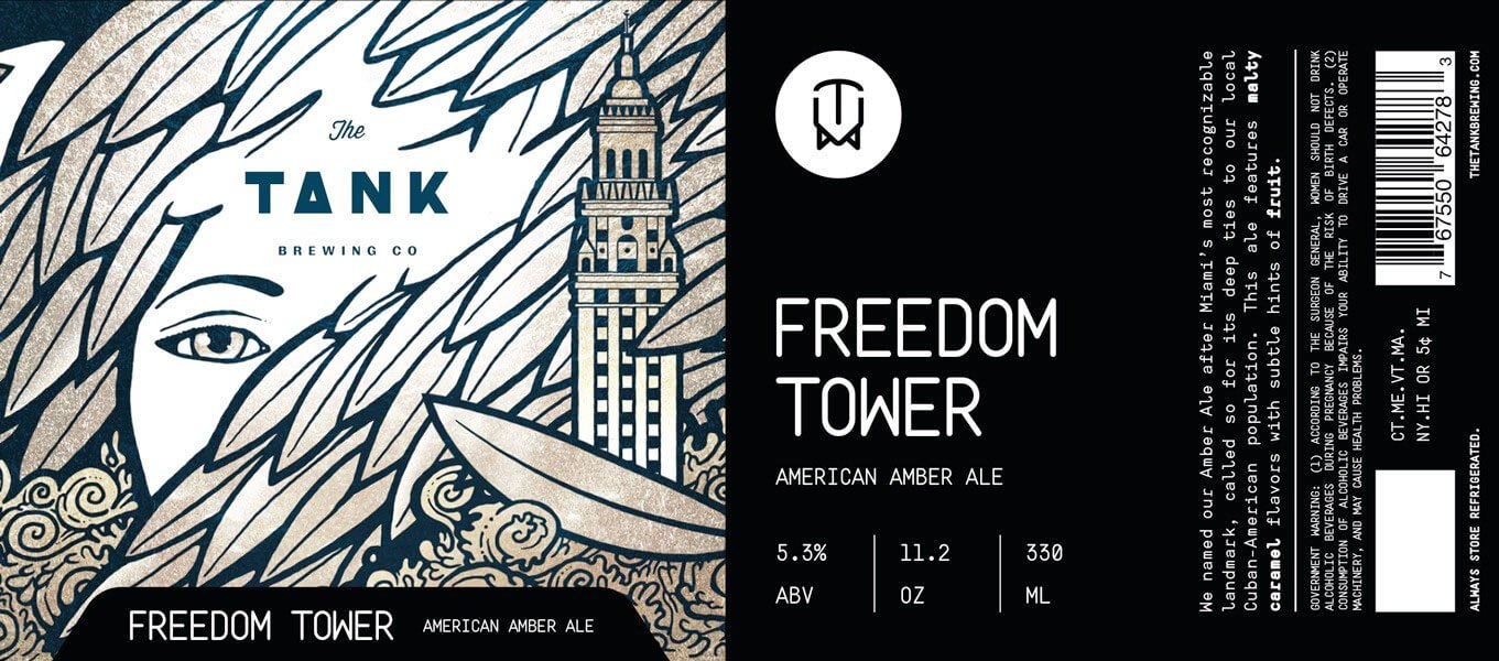 Label art for the Freedom Tower by The Tank Brewing Co.