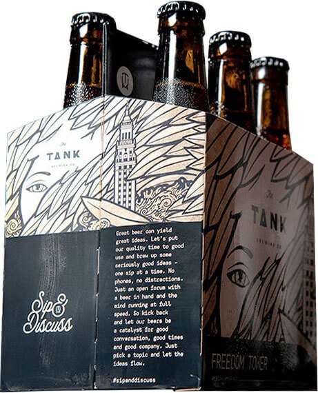 Packaging art for the Freedom Tower by The Tank Brewing Co.
