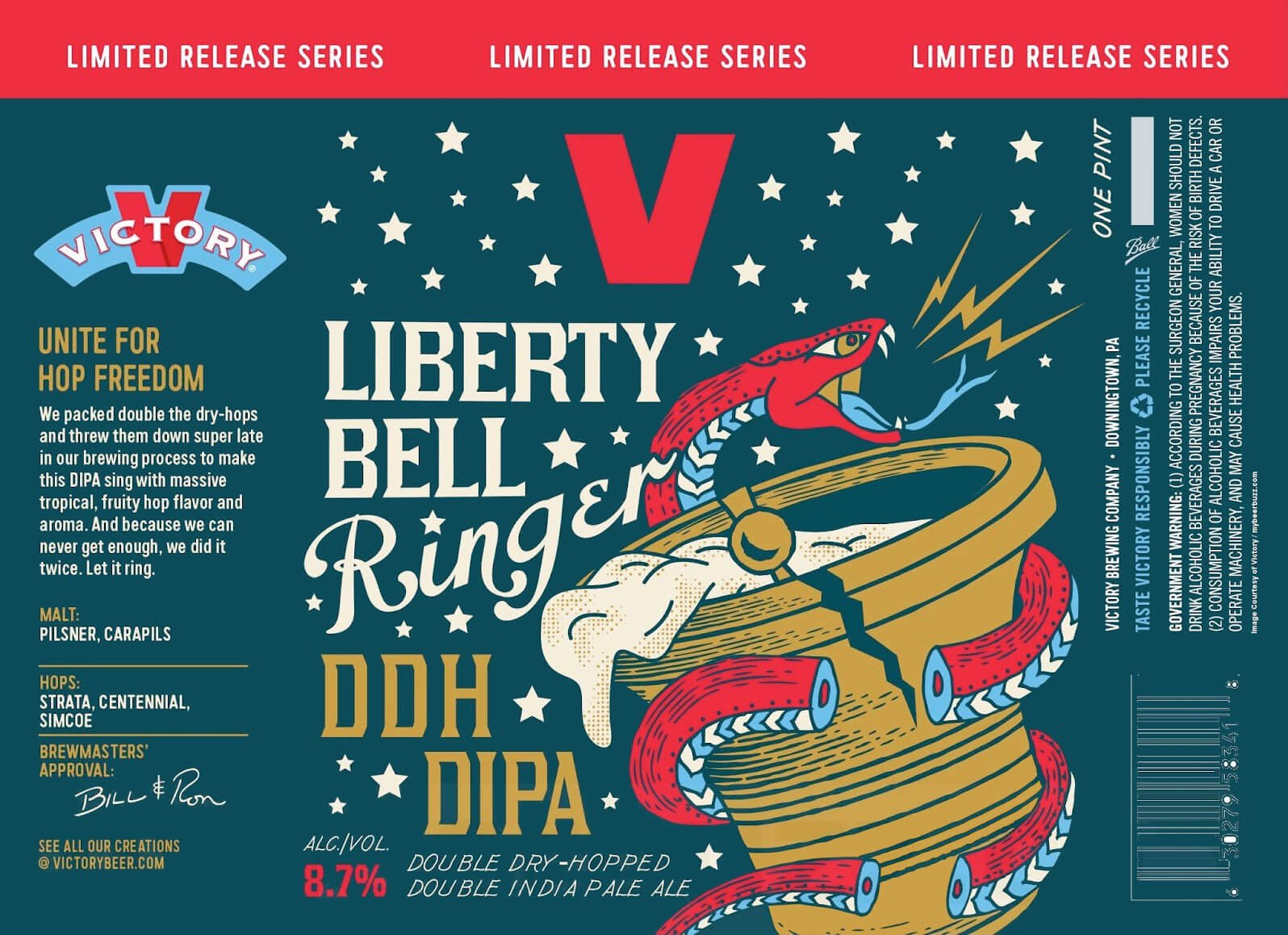 Label art for the Liberty Bell Ringer by Victory Brewing Company