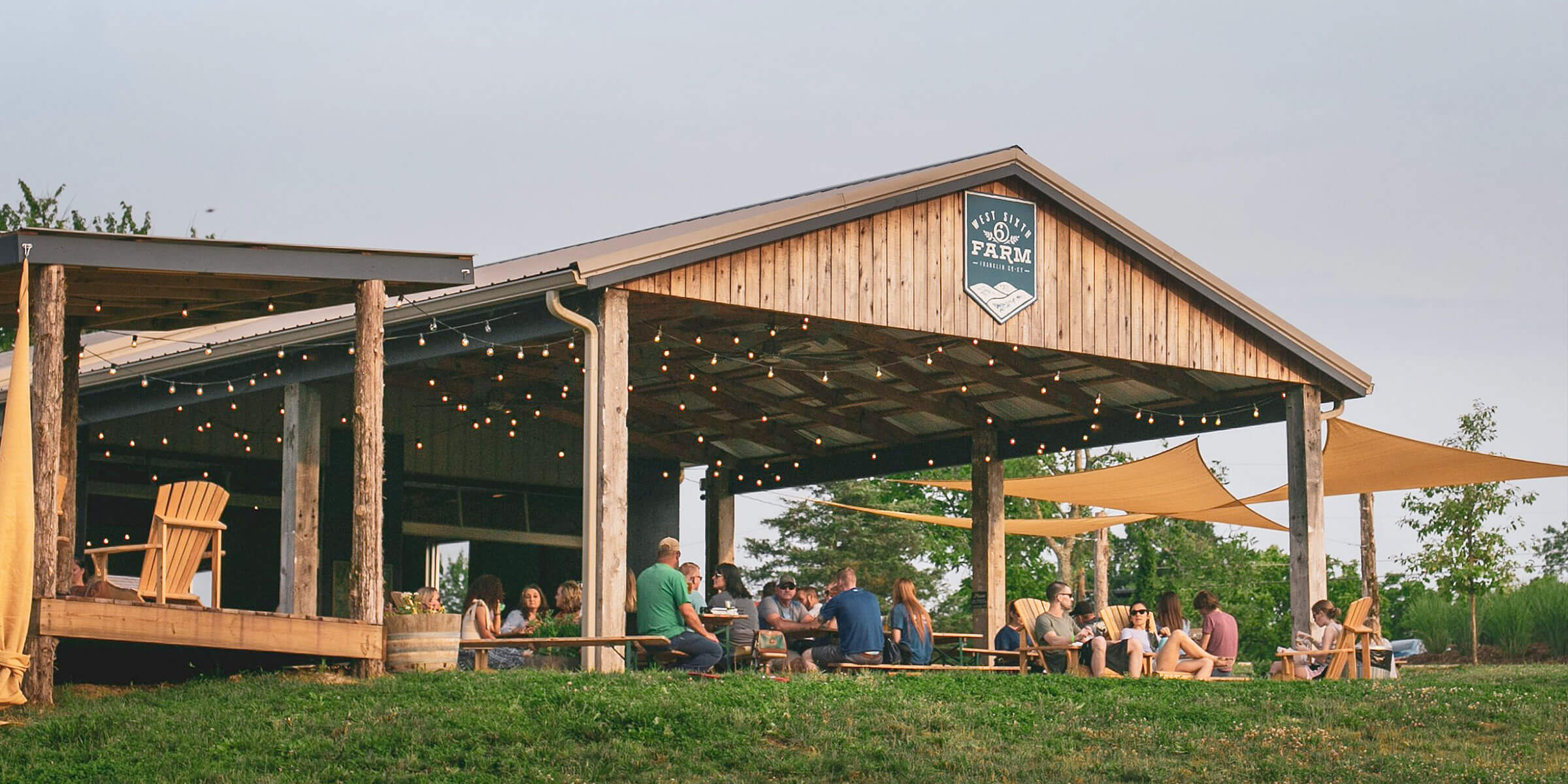 Outside the pavilion at the West Sixth Brewing Company's West Sixth Farm location in Frankfort, Kentucky