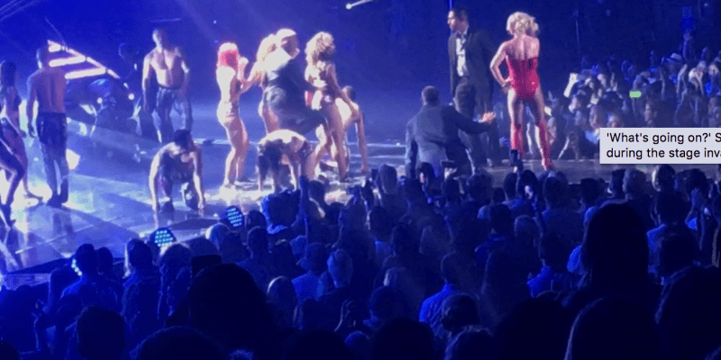 Britney Spears rushed off stage after fan storms performance!