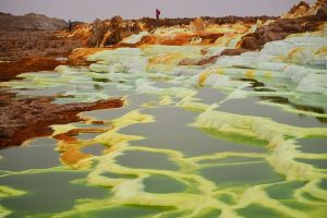 Danakil Depression green water and white depression.  Unique Ethiopia Destinations that Deserve to be on Your Bucket List. Absolute Ethiopia