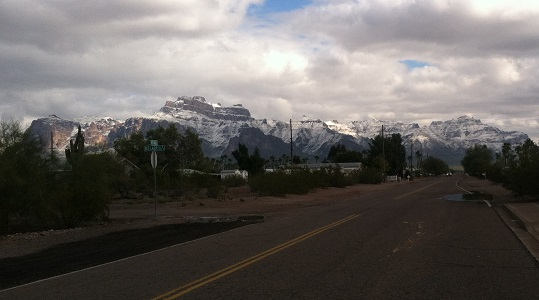 An image of now on Superstition Mountain. Snow and cold weather turn otherwise hibernating pests into winter pests.