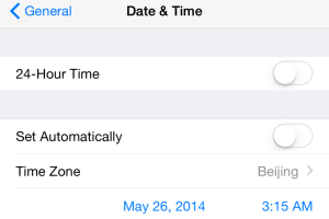 Date and Time settings in iOS 8