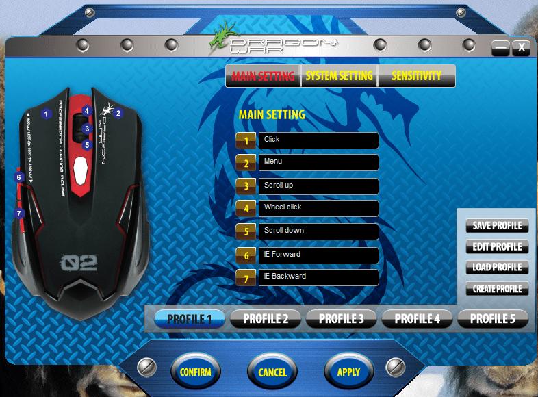 Dragonwar GKM-001 Gaming Mouse Settings