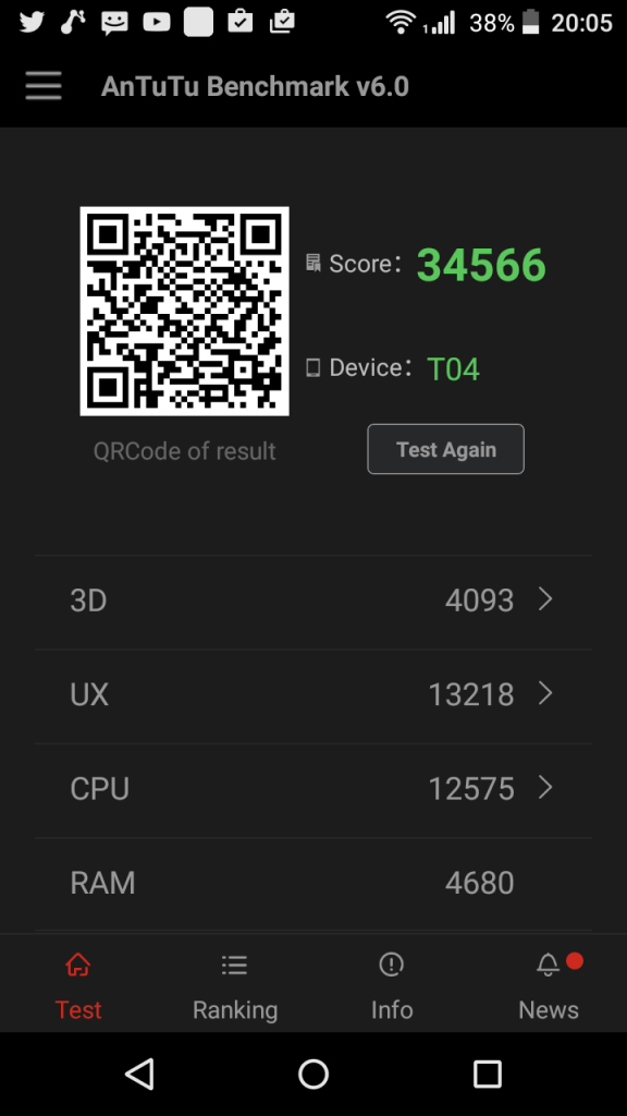 Acer Liquid Z630s Antutu benchmark score