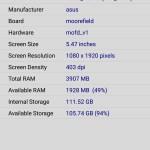 Asus Zenfone Zoom Scrren, RAM and storage details CPU-Z