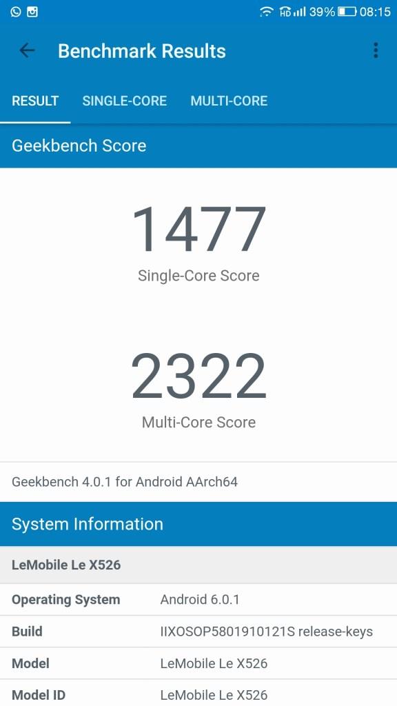 Le 2 GeekBench Single Core and MultiCore Score